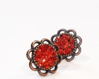 Everyday Earrings, Red Earrings, Red Rhinestone Earrings, Faux Druzy Earrings, Glitter Earrings, Post Earrings, Modern Earrings