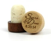 Engraved Solid Wood Topped T-Cork Wine Bottle Stopper - Sample - Simple Names and Date