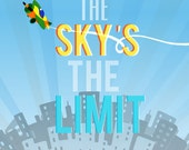 the sky's the limit (free personalization)..  nursery boys room digital download