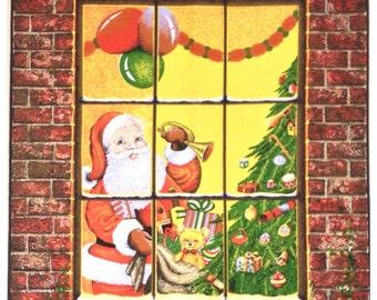 Tea Towel Vintage 'FATHER CHRISTMAS' by CAUSEWAY Santa Claus 1970's