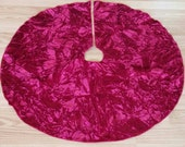 CLEARANCE Small Red Velvet Christmas Tree Skirt, Free Shipping, Circle Skirt, Made in USA, Crushed Red Velvet
