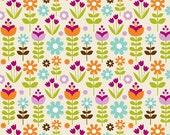 1 Yard Fabric Little Matryoshka Doll Cotton Fabric - Garden in Cream Fabric- One Yard