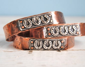 Copper Cuff, Horseshoes, Rustic, Cowgirl, Sterling Silver