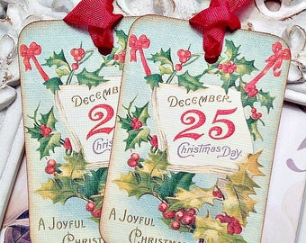 December 25th Christmas Gift Tags (6) Tags for Christmas-Christmas Favor Tag-Christmas Treat Tag-Holiday Tags-Shabby Christmas Tag-Holly Tag