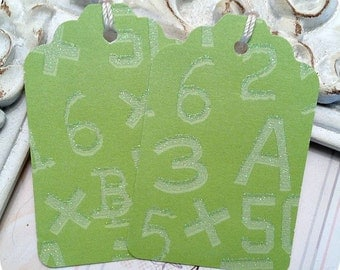 1.00 CLEARANCE - LAST SET - Green Glittery Number Tags - Set of 32