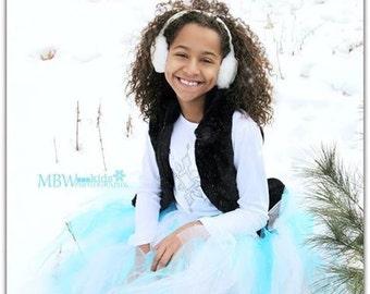 Youth Child - Long Tutu Skirt - Aqua Blue - Frozen Tutu - Wedding - Ballet - Snow Princess Tutu - Flower Girl Tutu - Bridesmaid