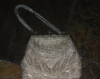 Vintage Silver Beaded Formal Dress Purse