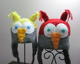 Owl hats, crochet animal hats, handmade owl hats