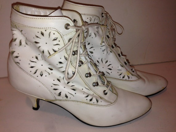 Vintage Pair of White Ankle Boots