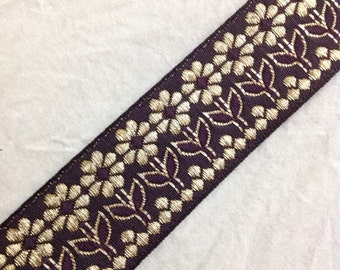 Jaqcuard Lace in Floral Pattern -Burgundy - Gold Sari Ribbon / Trim / Lace  for Dresses, Sari  and more