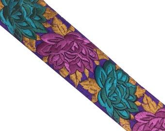Machine Embroidery Border in Autumn Colors - Raw Silk Wide Border / Lace /  Embroidered Trim /  Sari Lace