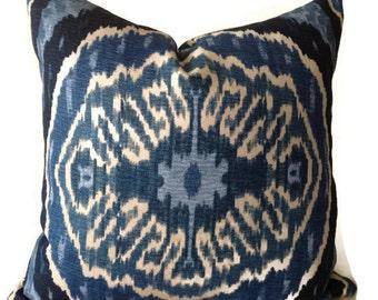 Blue ikat Pillows, Blue Throw Pillows, Decorative Pillow Cover, Denim Pillow, Duralee Pillow, Home Decor