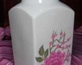 Mingei Vase, Porcelain Japanese Vase, Vintage Floral Vase, White Pink Blossoms,Museum Quality,Asian Vase, Wedding Gift