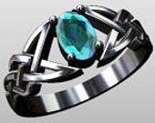 Celtic Infinity Ring 6X4  - Custom Made to Order. Argentium® Sterling Silver Ring and CZ Birth / Gem Stone *CMTOR005
