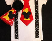 MICKEY MOUSE 1st First Birthday onesie hat Cake Smash photo props shoot