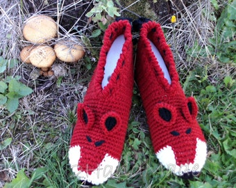 Unisex Adult Chunky Crochet Fox Slippers Women Men Children Teens Funny Silly Winter Sheep Wool Terracotta  Woodland  Animals Woodland