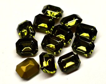 12 Swarovski 10x8 Olivine Octagon Rhinestones-bulk rhinestones-wholesale rhinestones-jewelry supplies-loose swarovski rhinestones