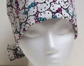Ladies Surgical Scrub Hat - Chemo Cap - Pixie - Hello Kitty