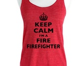Keep Calm I'm A Firefighter Soft Tri-Blend Racerback Tank