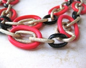 Long Red Necklace Mod Style Gold Black Large Chain Fashion Jewelry 30 inch