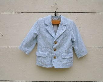 VINTAGE pastel stripe  blue jacket  for little boys, blue jacket for little boys, (12-18 months)