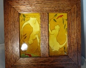 Two Framed 3 X 6 tiles by Ephraim Faience Pottery