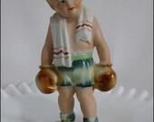 Vintage Grumpy Boy BOXER Figurine UCAGCO JAPAN Bisque Hand Painted