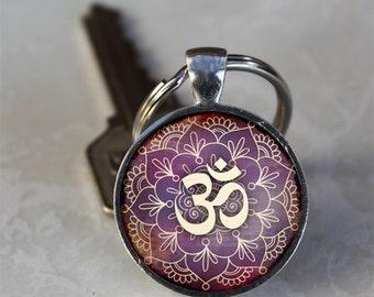 Om Keychain, Lotus Flower Keychain , Namaste Yoga  Glass Dome Keychain (GDKC0535)