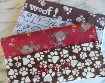 Baby Burp Cloth with Pocket - Set of 2 - Flannel, Terry Cloth - Dogs, Puppy, Woof