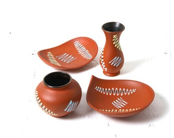 Vintage Dumler & Breiden West German pottery vase bowl set, Fat Lava, 1960s, mid century modernist mini collection, terracotta glaze