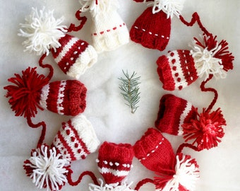 Miniature Knit Hat Garland- Christmas, Winter- 9 Ft Long 4 In Tall- 9 Hats- Red| White- Made To Order- Embroidered, Holiday Decor
