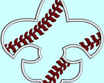 Baseball Applique Fleur De Lis Sports FDL Applique Embroidery Design Pattern