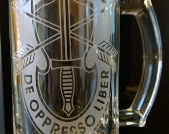 set of 2 - SPECIAL FORCES etched engraved beer mug - personalized inscription free!!!