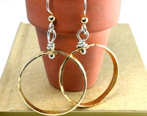 Hoops, Gold Hoops, Gold Earrings,  Sterling and Gold earrings, 70's Inspired Earrings, Light weight hoops, 1970, Modern hoops, Gold jewelry