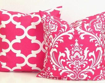 PINK PILLOW SET.20x20 Pillow Cover.Decorative Pillows.Housewares.Pink Pillow Set.Pink Floral.Pillow Set.Pink Cushions.Girl Room.Pink Chevron