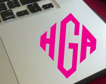 Diamond Style Monogram  Vinyl Decal / Laptop Decal / Cell Phone Decal / Cell Phone Sticker / Tablet Decal / Sticker / Initials / Girl Decal
