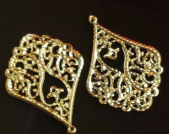 SALE - 20pc-  Bright Gold Filigree, Teardrop, oval drop,  connector, pendant, link and more...
