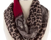 Leopard Print  Infinity Scarf ,Best  Selling Item Items, Gift mom, Summer  Ligtweight Scarf , gift for women- By Piyoyo