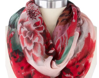 Womens scarves scarfs, Red Infinity Scarf scarves, bridesmaid gift under 20, Best Selling Items, Floral print, Fall finds Gift Ideas, PIYOYO