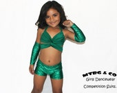 IVY- Girls Dance Wear, Girls Dance Competition Suit. Girls Talent Show outfit, Girls Dance competition suit, Green metallic green dance wear
