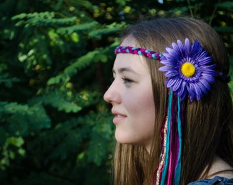 Hippie Sunflower Headband; Stretches for comfortable fit! Handmade Festival Flower Hair Accessory; Coachella, Bonnaroo, Outsidelands, EDC...