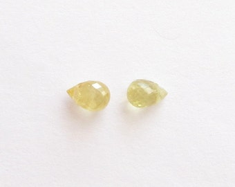 Genuine Yellow Sapphire, Briolette cut, Drilled Top Cross, Lot (2) of 0.78 carat