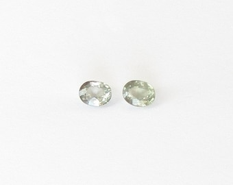 Genuine Green Sapphire, Oval Cut, Lot (2) of 0.80 carat