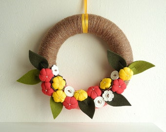 Spring wreath in yellow fuchsia green out front door fabric flowers OOAK ready to ship