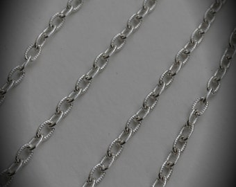 72 Inch Silver Plated textured Chain