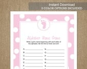 Baby Shower Game: Alphabet Name Game - Blue, Pink, Purple, Gray, or Green - INSTANT DOWNLOAD