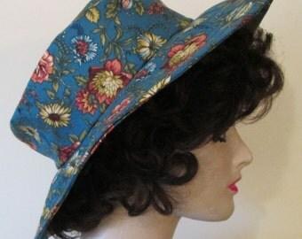 Dark Teal with Mauve and Cream Flower Garden/Sun Hat
