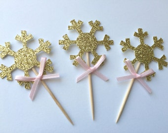 20 Gold Glitter Snowflake Cupcake Toppers with Pink Bow.  Winter Wonderland Party.  Cupcake Decor.  Winter Onederland Birthday Theme