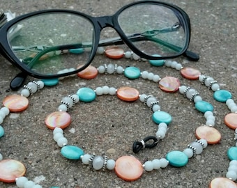 Eyewear Holder, Mother of Pearl, Turquoise, Copper, White, Beaded Chain for Reading Glasses