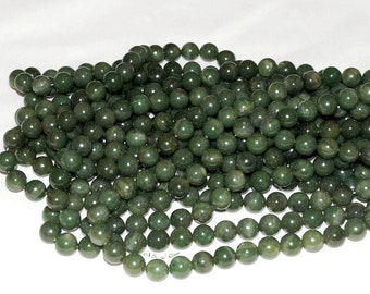 "Natural Green Jade 10mm Round Gemstone Beads A - 15.75"" Strand"
